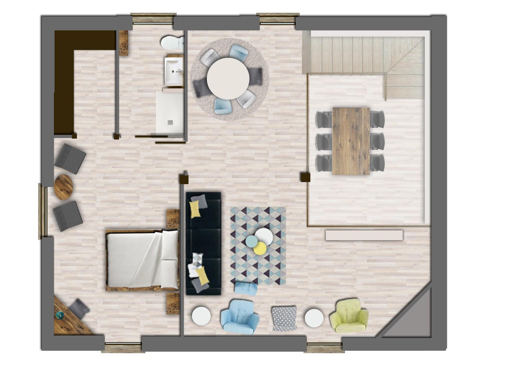 Reforma de baserri ad interior design for Bano bajo escalera planta